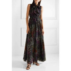 CO Black Floral Pussy Bow Tie Neck Silk Maxi Dress